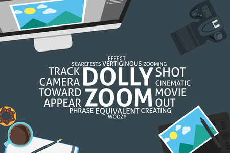 zooming: vector dolly zoom concept,template