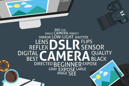 dslr: vector DSLR camera concept,template