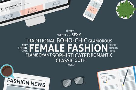 preppy: vector female fashion concept,template Illustration