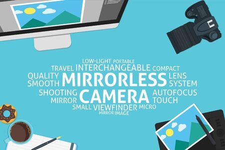 mirrorless camera: vector mirrorless camera concept,template Illustration