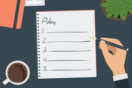 vector drawing policy list concept Illustration