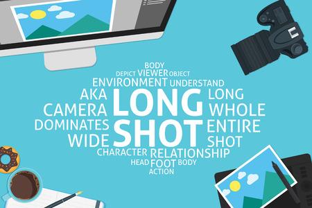 plan �loign�: vecteur concept de long shot, mod�le