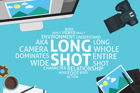 vector long shot concept,template Ilustrace