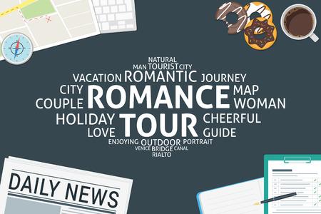 vector romance tour concept,template