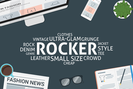 denim jacket: vector rocker concept,template Illustration