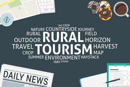 vector rural tourism concept,template Illustration