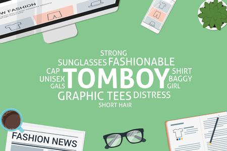 vector tomboy concept,template