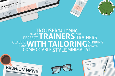 trouser: vector trainers with tailoring concept,template