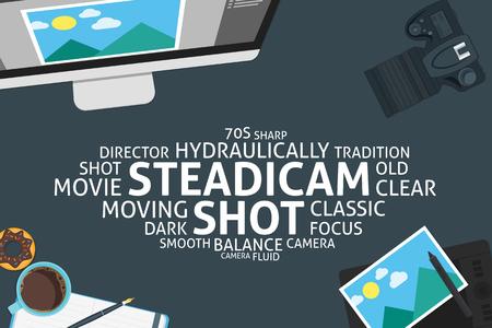 vector steadicam shot concept,template