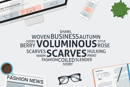 vector voluminous scarves concept,template