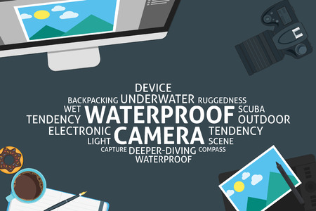 waterproof: vector Waterproof camera concept,template