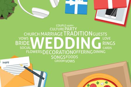 vector wedding concept,template