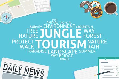 vector jungle tourism concept,template