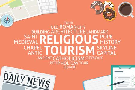 vector religious tourism concept,template Illustration