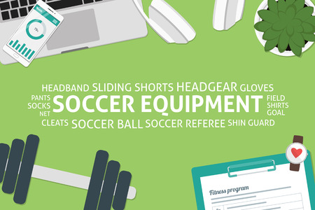 vector soccer equipment concept,template Ilustrace