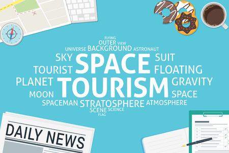 vector space tourism concept,template