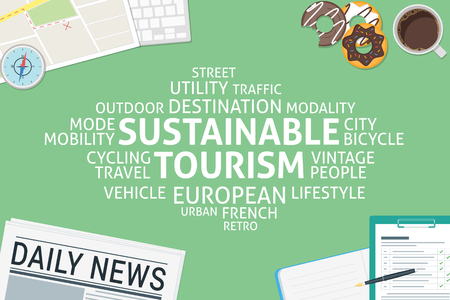 vector sustainable tourism concept,template