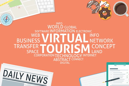 vector virtual tourism concept,template Ilustrace