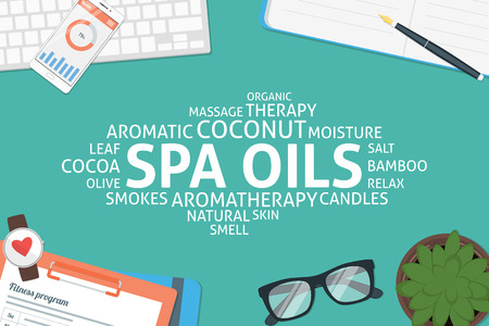 vector spa oils concept,template