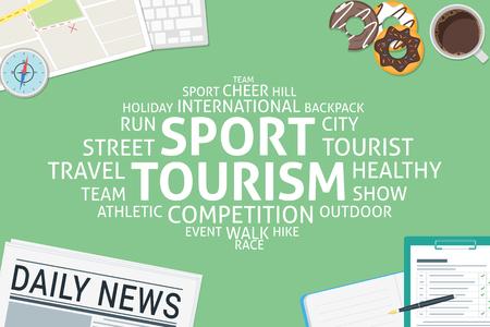 vector sport tourism concept,template Illustration