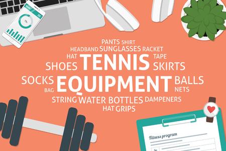 vector tennis equipment concept,template Illustration