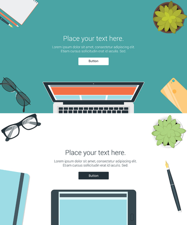 Vector set top view of modern business office and working place elements on desk background. flat design
