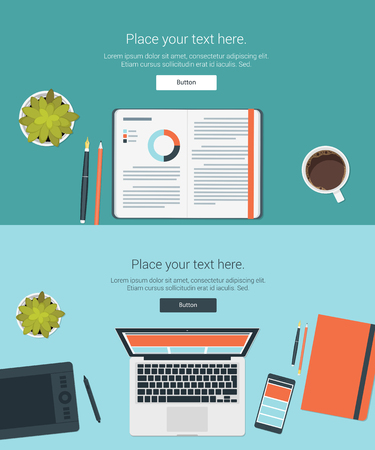 working place: Vector set top view of modern business office and working place elements on desk background. flat design