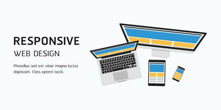 vector responsive web design in flat design, website banner header