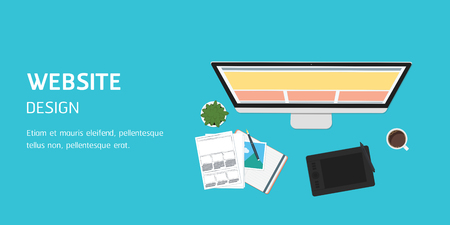 vector website design in flat design, website banner header