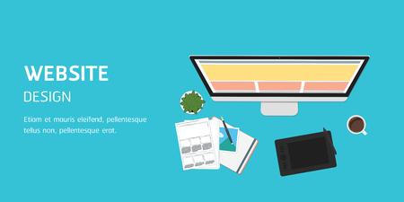 vector website design in flat design, website banner header