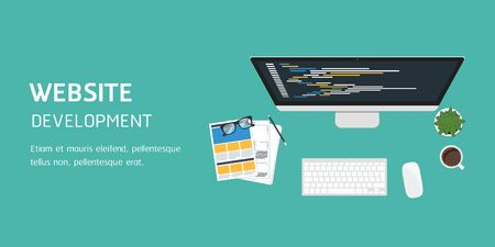 vector website development in flat design, website banner header