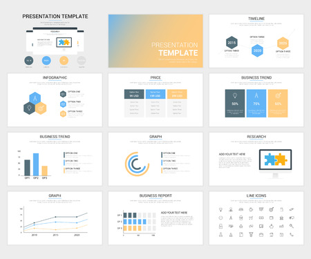 Vector set of presentation template and icons for modern business in flat design.