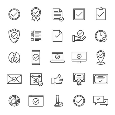 Vector set of approval line icons design, contains such icons as document, mail, stamp, certified, location, calender, shield, checkbox and more