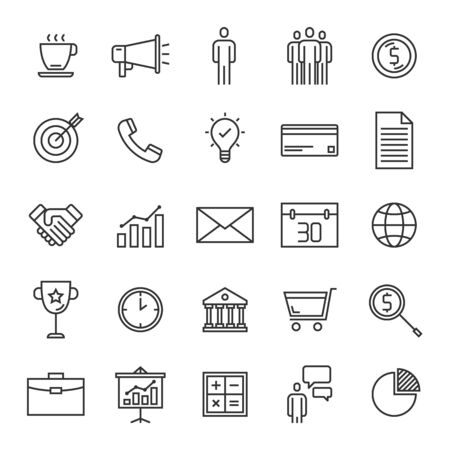 Vector set of business line icons design, contains such icons as team, presentation, communication, business man, idea, award, graph, handshake, person, target and more Illustration