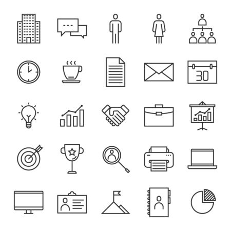 Vector set of company line icons design, contains such icons as building, communication, business man, team, coffee, document, mail , idea, handshake, employee badge, chart and more