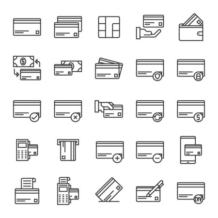 Vector set of credit card line icons design, contains such icons as wallet, atm, money, security, swiping, ship, mobile, payment, transfer, cvv and more