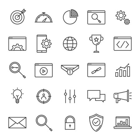 Vector set of seo search engine optimisation line icons design, contains such icons as target, performance, browser, mobile, keyword, video, link, advertising, analytics and more Illustration