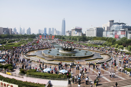 first day: National Day, The World First Spring Resorts - Spring City Plaza full of people Editorial