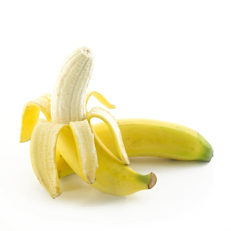 Open banana isolated on white background  photo