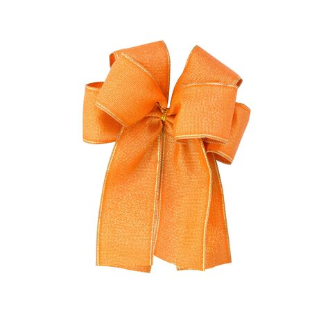 Satin gift bow  orange ribbon isolated on white  photo
