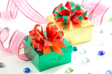 golden and green gift box photo