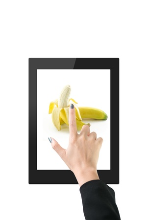 Hands with tablet computer  Isolated on white background   Stock Photo - 14914298