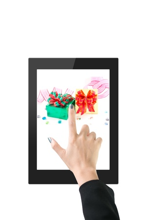 Hands with tablet computer  Isolated on white background Stock Photo - 14914259