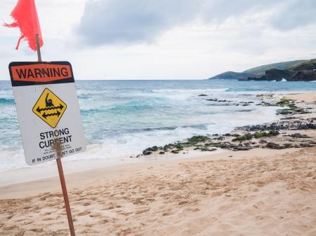 no swimming sign: Oahu Hawaii - Warning no swimming sign, Sandy beach