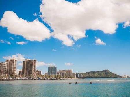 HONOLULU, HAWAII - FEB 2, View of Diamond head from Waikiki beach
