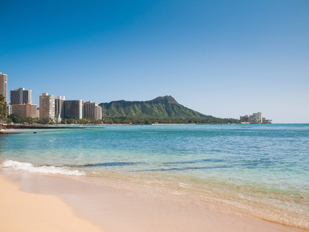 HONOLULU, HAWAII - FEB 2   View of Waikiki beach and Diamond head mountain behind  photo