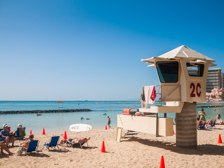 HONOLULU, HAWAII - FEB 1   Lifeguard post on Waikiki Beach