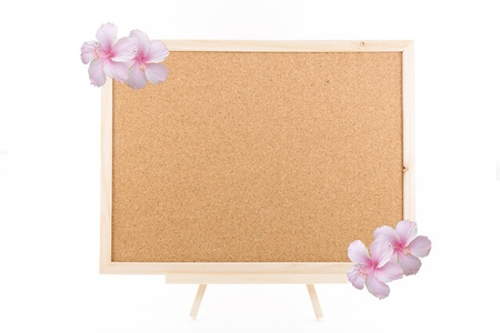 cork board with wooden frame photo