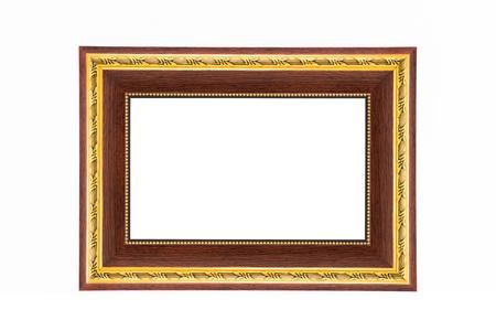Landscape wooden photo frame isolated on white background