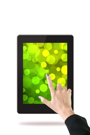 Women hand with tablet computer  Isolated on white background Stock Photo - 15064473